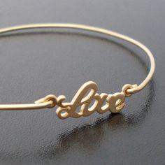 Gold Love Bracelet Gold Bangle Bracelet Gold by FrostedWillow, $24.95