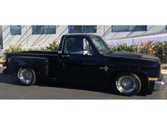 """1976 Chevy stepside pickup truck - had one like this brand new from S&K Chevrolet - lowered, chromed step-sides, T/A radials with 20"""" anson mags, custom chrome grill, tannow cover - root-beer brown sparkle"""