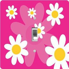 "Rikki KnightTM Hot Pink Pink Daisies Retro 60's Design - Single Toggle Light Switch Cover by Rikki Knight. $13.99. Glossy Finish. Masonite Hardboard Material. 5""x 5""x 0.18"". For use on Walls (screws not included). Washable. The Hot Pink Pink Daisies Retro 60's Design single toggle light switch cover is made of commercial vibrant quality masonite Hardboard that is cut into 5"" Square with 1'8"" thick material. The Beautiful Art Photo Reproduction is printed directly into the switc..."