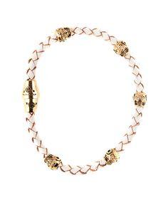 White Fortuna Single Leather Bracelet