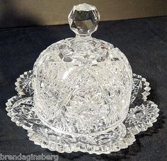 Antique American Brilliant Cut Glass Butter Plate Dome Butter Dish 5255 | eBay  I have one similar if not identical that was my grandmother's BUT the bottom dish to mine has a piece missing from the edge...BUT I still use it and LOVE IT!!!