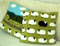 Knitting Patterns Yarn Sheep Cushion Knitting Pattern Pillow Knitting by iKnitDesigns, see the baby blanket pattern . Baby Knitting Patterns, Knitting Charts, Knitting Yarn, Crochet Patterns, Knit Pillow, Cushion Pillow, Double Knitting, Knitting Projects, Knitted Hats