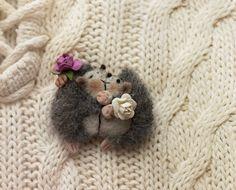 Felt brooch hedgehog Hedgehog wool New by YanaTeddyFeltedToys