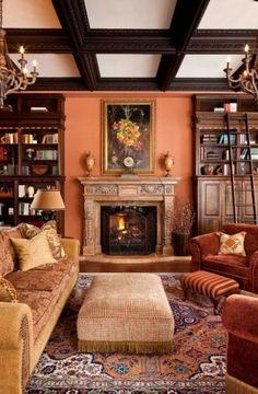 Traditional orange themed living room with coffered ceiling Victorian style chandeliers traditional rug upholstered center table antique furniture and a cozy sofa Peach Living Rooms, Antique Living Rooms, Traditional Living Room Furniture, Victorian Living Room, Living Room Orange, Living Furniture, Furniture Design, Simple Furniture, Luxury Furniture
