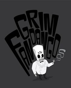 Grim Fandango Art Print by ngun Day Of The Tentacle, Eddie The Head, Lucas Arts, Castle Crashers, Mundo Geek, Fallen London, Game Concept Art, Yandere Simulator, Video Game Art