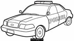 City Police Car Printable Coloring Page