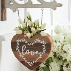 """Wood Sign for Country Arrow Holders /""""STAR with FLOWER POT/"""" Replacement Sign"""