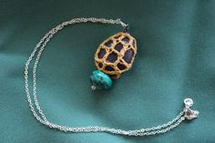 Funky Crochet Net Covered Stone Pendant by FuchsiaFoxStudio