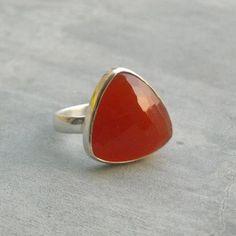 Triangle Carnelian ring,Modern Carnelian Jewelry, Cocktail Jewelry, Sterling silver geometric ring