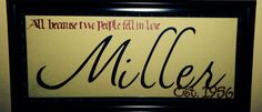Personalized Last Name Sign. Framed Last Name Decor. DIY.  Cricut Project. Cricut Vinyl. Wedding Gift. Personalized Gift.