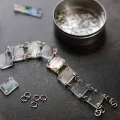 Shrinky bracelet made from plastic take-out food containers