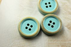 Wooden Buttons - 10 pieces of Retro Brushed Effect Baby Blue Wood Buttons. 0.83 inch by Lyanwood, $6.00