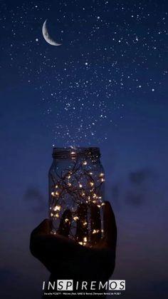 Stars and Moon Mason jar phone wallpaper / background. Stars and Moon Mason jar phone wallpaper / background.