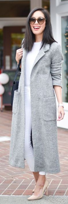 Gray Textured Long Coat by 9to5 Chic