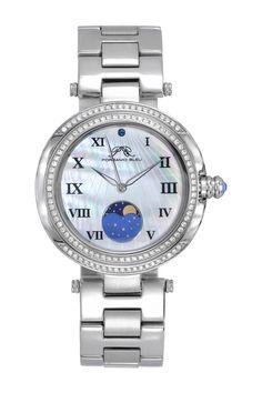 031d3a0afef7 Porsamo Bleu Women s South Sea Crystal Moon Phase Bracelet Watch