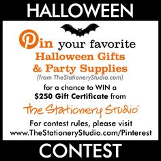 Pin your favorite Halloween Supplies for a chance to win a $250 gift certificate from TheStationeryStudio.com
