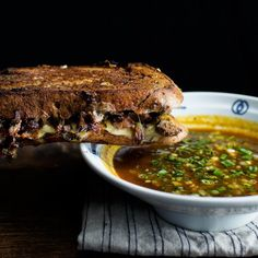 MISO BEEF STEW FRENCH DIP SANDWICH (beef short-ribs or beef chuck, tomato paste, beef stock, gouda cheese, scallion)