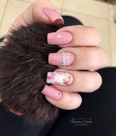 30 Decorated Nail Examples for Winter Mani Pedi, Manicure And Pedicure, Us Nails, Nail Decorations, Nail Arts, Nail Inspo, Pretty Nails, Nail Colors, Nail Art Designs