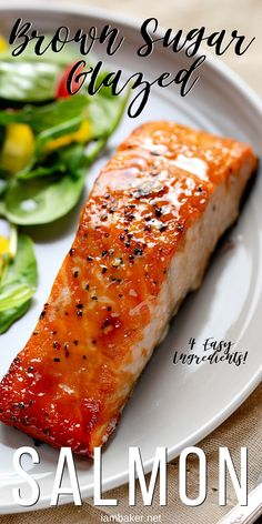 Brown Sugar Glazed Salmon is the perfect weeknight meal salmon seafood brownsugarglazedsalmon brownsugarglaze glazedsalmon salmonrecipes fishrecipes iambaker Grilled Salmon Recipes, Easy Salmon Recipes, Fish Recipes, Seafood Recipes, Recipes Dinner, Delicious Salmon Recipes, Cake Recipes, Seafood Meals, Asian Recipes