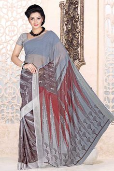 Grey Georgette Saree and Grey Blouse Price:-£25.00 Indian Designer Grey Sarees are now in store presents by Andaaz Fashion. Embellished with printed work and Grey Georgette Short Sleeve Blouse. This is perfect for party wear, wedding, festival wear, casual, ceremonial. http://www.andaazfashion.co.uk/grey-georgette-saree-and-grey-blouse-dmv7885.html