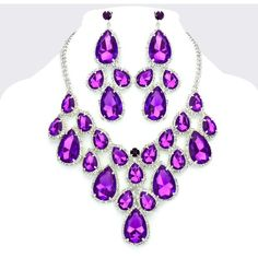 Amethyst Purple Crystal Rhinestone Formal Wedding Bridal Prom Party Pageant Bridesmaid Evening Teardrop Cluster Necklace Earrings Set Elegant Costume Jewelry found on Polyvore featuring polyvore, fashion, jewelry, bridal jewelry, purple prom jewelry, rhinestone bridal jewelry, crystal bridal jewelry and purple amethyst jewelry