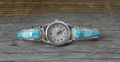 Turquoise Inlay Navajo Women's Silver Watch, Navajo Silver Watch, Turquoise Inlay Women's Watch, Vintage Gift Watch, Made In USA