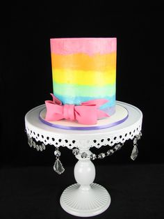 Pastel rainbow stripes in buttercream on a white chocolate mud cake with white chocolate ganache filling. White Chocolate Mud Cake, Chocolate Ganache Filling, Cake Decorating, Decorating Ideas, How To Make Cake, Special Occasion, Wedding Cakes, Birthday Cake, Pastel