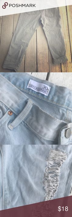 Perfectly torn, but never worn GAP Boyfriend Jeans Perfectly torn, but never worn GAP Boyfriend distressed Jeans 👖Can be worn with cuffs or without 😊 GAP Jeans Boyfriend