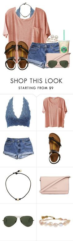 """RTD!"" by annaewakefield ❤ liked on Polyvore featuring Charlotte Russe, Clu, Birkenstock, Kate Spade, Ray-Ban, Lena Skadegard and Honora"