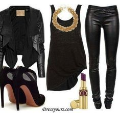 Black leather jacket, speckled hi-lo hem top, gold chain necklace, leather look leggings and mesh ankle boots