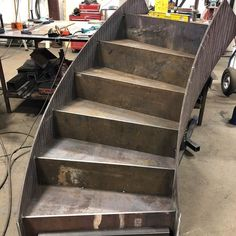 The start of our next stair it will be in 4 sections to fit in an elevator for final assembly in the penthouse! #designer #stairs #staircases #metalstairs #steelstairs #architecture #metalmart #architecture #details #metalwork #construction #residential #modern #westcoast #heavymetal #luxury #welding #interiordesign #stairporn #building