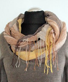 Natural Linen Scarf Striped Unisex Gray Brown Beige by Initasworks, $39.00