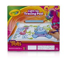 Crayola Trolls Lightup Tracing Pad Art Tool Bright LEDs Easy Tracing with 1 Pencil 12 Colored Pencils 10 Blank Sheets 10 Tracing Sheets ** Check out the image by visiting the link. (This is an affiliate link) Tracing Art, Tracing Sheets, Tracing Lines, Trolls Birthday Party, Troll Party, 5th Birthday, Toys For Girls, Kids Toys, Dibujos Cute