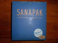 VINTAGE 1950'S SANAPAK SANITARY NAPKINS UNOPENED BOX OF 1 DOZEN NOS #SANAPAK
