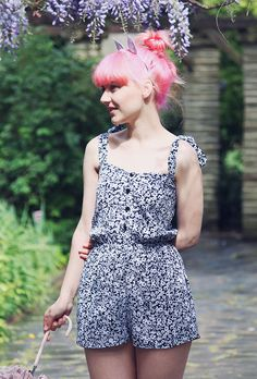Monochrome Ditsy Floral Playsuit — Mod dolly