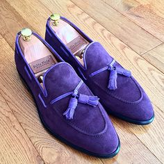 Purple tassel loafers with extra soft suede and calf leather lining