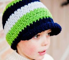 Crochet Pattern, Skylar Brimmed Beanie, Baby, Child and Adult sizes included