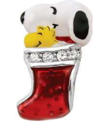 c11876d7d Persona® Sterling Silver Peanuts® Multi-Color Enamel with Crystal Snoopy  and Woodstock in Stocking Bead - View All Bracelets - Zales