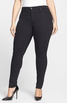 CJ by Cookie Johnson 'Joy' Stretch Skinny Jeans (Black) (Plus Size) available at #Nordstrom