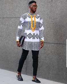 So to begin with, you've got to learn what fit and look you like. African Wear Styles For Men, African Shirts For Men, African Clothing For Men, Couples African Outfits, African Dresses Men, African Attire, Indian Men Fashion, African Print Fashion, Moda Afro