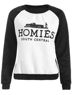 $11.49 Raglan Sleeve Color Block Homies Cartoon Print Sweatshirt