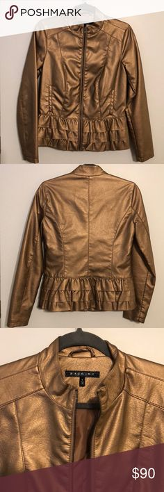 Fabulous Copper/Rose Gold ruffle jacket. Small. I just love this jacket! Not quite sure if I want to sell this yet...  although I've only wore it once. Copper/Bronze faux leather ruffle jacket. Size small. Baccini Jackets & Coats