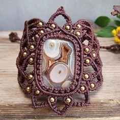 Macrame Bracelet Shamballa Cabochon Druzy Agate Stone Cord Handmade Handwoven #Handmade #Wrap