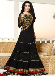 Black Shraddha Kapoor floor length anarkali suit