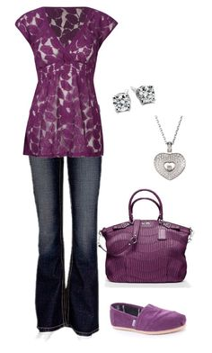 Plum Lace by mmessenger on Polyvore featuring BKE, TOMS, Coach, Chopard and Blue Nile