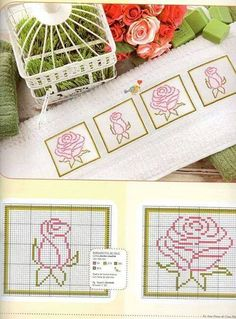 Rose n rose bud Cross Stitch Bookmarks, Mini Cross Stitch, Cross Stitch Cards, Beaded Cross Stitch, Cross Stitch Rose, Cross Stitch Borders, Cross Stitch Flowers, Cross Stitch Designs, Cross Stitching