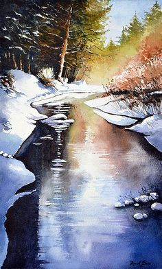 Marcel Boos Watercolor Watercolor Landscape, Landscape Art, Landscape Paintings, Landscapes, Painting Snow, Watercolour Painting, Watercolor Canvas, Watercolours, Watercolor Techniques