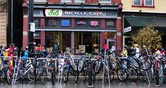 The Top 10 Bars for Cyclists, from the United States to Belgium to Taiwan. (Pictured: Over the Bar Bicycle Cafe in Pittsburgh, Pennsylvania.)