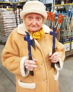 Grandma with hatchets ~Awkwardly Funny Family Photos