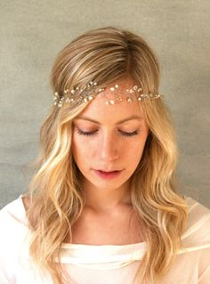 Crystal and Freshwater Pearl Hair Vine Halo. by ElevenSkiesStudio